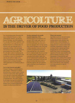 agricolture is the driver of food production